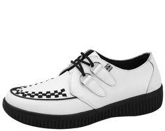 A8489 - White Leather T.U.K. VIVA Creepers   #TUK