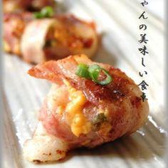 超簡単おやつ☆ねぎ餅チーズのベーコン巻♪