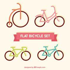 Bicicletas planas definido Vetor Premium