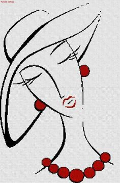 0 point de croix silhouette visage bijoux rouges - cross stitch face with red jewels