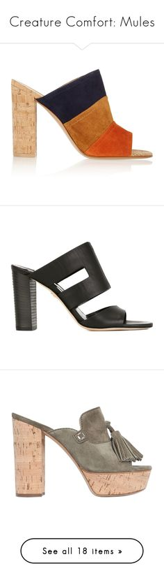 """""""Creature Comfort: Mules"""" by polyvore-editorial ❤ liked on Polyvore featuring mules, shoes, heels, high heels, sapatos, sandals, orange, cork shoes, high heel mule shoes and color block shoes"""