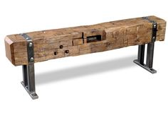 This rustic wooden beam art would look great in any home! Visit our site to find out more. | www.brumbaughs.com | Brumbaugh's Fine Home Furnishings | Fort Worth, TX