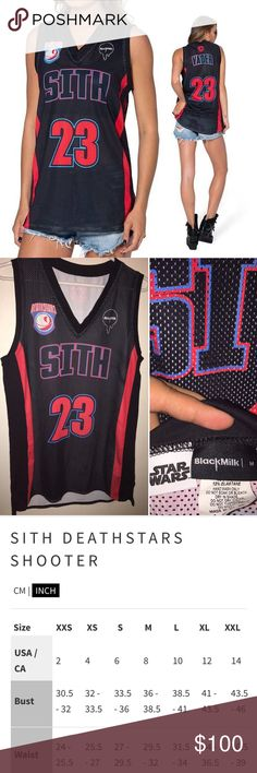 RARE Black Milk Star Wars Sith Shooter -- M No longer in production! Rare NWOT and in perfect condition. Never worn. Black and red basketball style jersey with number 23 and SITH on front and back. Super lightweight and breathable material. Blackmilk Tops