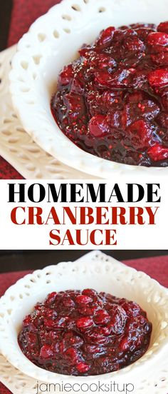 Homemade Cranberry Sauce from Jamie Cooks It Up! Try it this Thanksgiving, it is… Homemade Cranberry Sauce from Jamie Cooks Thanksgiving Recipes, Fall Recipes, Holiday Recipes, Thanksgiving Cranberry Sauce, Christmas Recipes, Thanksgiving Vegetables, Thanksgiving Prayer, Hosting Thanksgiving, Thanksgiving Sides