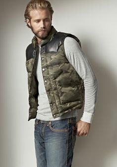 Leather Yoke Nylon Camo Mens Puffer Vest - Mens Shop The Look - True Religion Brand Jeans Puffer Vest Outfit, Mens Puffer Vest, Vest Outfits, Vest Men, Camouflage Suit, Denim Shirt Men, Mens Fashion Blog, Men's Fashion, Camo Shirts