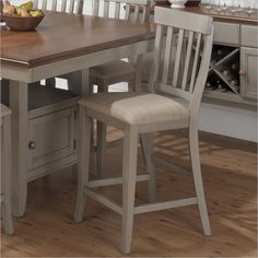 Jofran Counter Height Slat Back Stool in Pottersville Antique Grey (set of 2) - 771-BS814KD