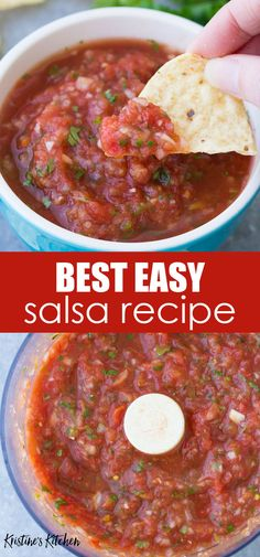 The Best Homemade Salsa Recipe is quick and easy to make in just minutes! This homemade restaurant style salsa is fresh, flavorful and healthy. This easy salsa recipe uses fire roasted tomatoes and is Canned Salsa Recipes, Best Salsa Recipe, Mexican Salsa Recipes, Tomato Salsa Recipe, Fresh Tomato Recipes, Fresh Tomato Salsa, Canned Fire Roasted Salsa Recipe, Best Homemade Salsa Recipe Fresh Tomatoes, Mexican Salsa Sauce Recipe