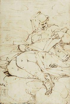 Luca CAMBIASO (Moneglia 1527 - Madrid 1585)  Etude pour une Sybille  Plume et encre brune