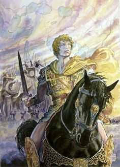 Alexander the Great and the battle of Hydaspes, 326 BC. Artwork by Milo Manara.