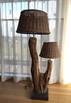Unique table lamp made of weathered old oak branch by GBHNatureArt