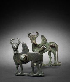 A Luristan bronze horse cheek-piece -  Circa 8th-6th Century B.C.
