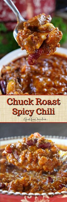 Chuck Roast Spicy Chili - This chuck roast spicy chili will not only warm your heart but your soul too! A good ol' hearty chili and a great comfort food! Best Chili Recipe, Chilli Recipes, Meat Recipes, Mexican Food Recipes, Cooking Recipes, Crockpot Recipes, Dishes Recipes, Chili Soup, Spicy Chili