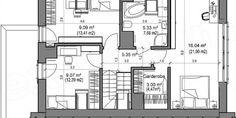 Proiect casa mica cu mansarda de 115 mp + fotografii cu interiorul | CasaPost.ro Mica, Floor Plans, Bathroom, Interior, House, Design, Houses, Washroom, Indoor