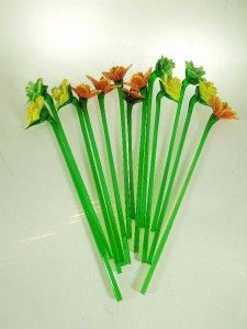 glass flowers with stems lot of 13 art glass hand blown long - Glass Flowers