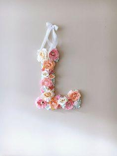Flower Letters Floral Letters Vintage wedding by PaulettaStore - Ideas For Diy Flower Letters, Diy Letters, Nursery Letters, Pastel Candy, Pink Candy, Vintage Letters, Baby Shower, Nursery Wall Decor, Bridal Shower Decorations