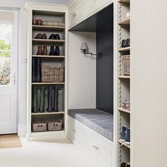 Design yourself a well-organised boot room with plenty of practical storage to act as a stylish transitional space for just-out-of-the-rain coats and muddy wellies Boot Room Utility, Laundry Doors, Hallway Storage, Shoe Storage Mudroom, Boot Room Storage, Cloakroom Storage, Coat And Shoe Storage, Garage Organization, Storage Spaces