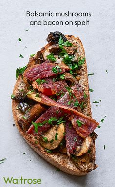 Spice up your lunch with buttery balsamic mushrooms and crispy streaky bacon rashers on a bed of crunchy spelt toast. Sprinkle with chopped parsley to serve. See the Waitrose website for the full recipe. Toast Toppers, Waitrose Food, Balsamic Mushrooms, 10 Minute Meals, Nordic Recipe, Comidas Fitness, Curry Goat, Summer Treats, Good Healthy Recipes