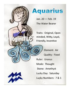 Zodiac Aquarius Poster Aquarius traits by Tammy Lawrence-Cymbalisty http://www.reikiandyoga.com