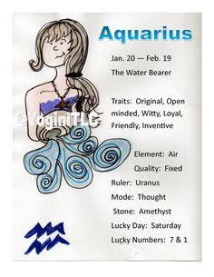 Zodiac Aquarius Poster Aquarius traits by Tammy Lawrence-Cymbalisty http://www.reikiandyoga.com