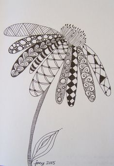 40 Simple and Easy Doodle Art Ideas to Try - Doodle Art Drawing, Zentangle Drawings, Mandala Drawing, Pencil Art Drawings, Art Drawings Sketches, Zentangle Patterns, Easy Drawings, Zentangles, Feather Drawing