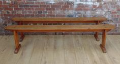 Pair of French Antique Cherry Wood Benches