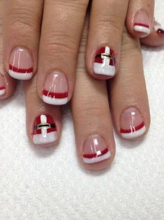 Designs for christmas ideas about Christmas manicure, pretty nails and Holiday nail art. As if ombre nails are not cool enough, this holiday nail design uses a glitter ombre with painted Christmas ornaments on each nail. The look is intricate and fun . Christmas Nail Art Designs, Holiday Nail Art, Christmas Holiday, Christmas Ideas, Christmas Ornaments, Simple Christmas, Christmas Manicure, Xmas Nails, Cute Nails