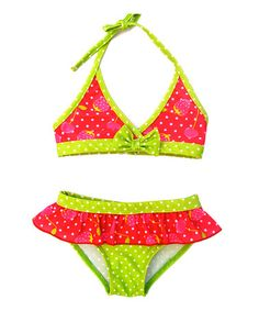 Look what I found on #zulily! Fuchsia Strawberry Ruffle Bikini - Infant & Toddler by Pink Platinum #zulilyfinds