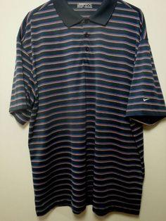 480cc7a03379 Mens Nike Golf Fit Dri Polo Shirt Sz 2xl XXL Polyester Moisture Wicking  Blue red