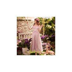 Lace Panel Chiffon Maxi Dress ($70) ❤ liked on Polyvore