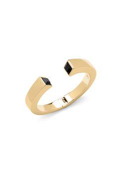 DVF Black Swarovski stone cuff bracelet in gold