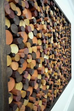 wood wall art large WOODEN CIRCLES 40x28 by StainsAndGrains