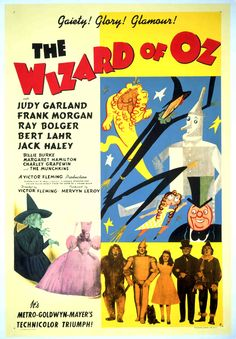 One-Sheet poster featluring Margaret Hamilton and The Wiked Witch, Billie Burke as Glinda, Ray Bolger as The Scarcrow, Jack Haley as The Tin Man, Judy Garland as Dorothy Gale, Bert Lahr as The cowardly Lion and Frank Morgan as Professor Marvel/The Wizard, The Wizard of Oz, 1939
