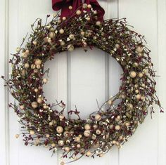 STORM DOOR Wreath - Christmas Wreath - Sage, Ivory & Burgundy Berry Wreath - Holiday Wreath - Primitive Christmas Wreath -  Home Decor by Designawreath on Etsy