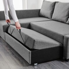 IKEA - FRIHETEN, Corner sofa-bed with storage, Skiftebo dark grey, This sofa converts quickly and easily into a spacious bed when you remove the back cushions and pull out the underframe. Sofa, chaise longue and double bed in one. Sectional Bed, Sofa Beds, Sofa Sleeper, Bedroom Sofa, Ektorp Sofa, Futon Bed, Couch Sofa, Bed Mattress, Interior Design Kitchen
