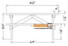 5 Foot Picnic Table Plans | DIY Projects - Construct101