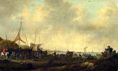 Hendrick de Meijer (ca. 1620 - na 1689). Drukte op het Nederlandse strand van waarschijnlijk Scheveningen. Hendrik de Meyer schilderde graag het strandleven op het strand van Scheveningen. ook dit schilderij met de vele figuren, die de boten en schepen uitladen, de vissers en de handelaren, is waarschijnlijk een strandgezicht uit Scheveningen.
