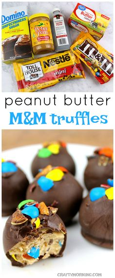 These peanut butter m&m truffles are to die for! They are the perfect no bake dessert to bring to a party!