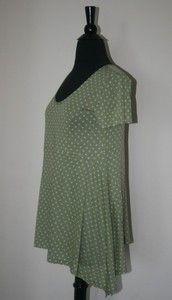 pretty lilith green knit top with aqua polka dots