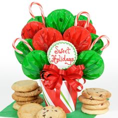 This cookie bouquet is adorned with candy canes and 12 gourmet cookies!