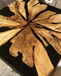 🏆 KHARLAMOV studio в Instagram: «Стол в работе. Спил ореха в чёрной как ночь смоле. Ждёт свое подстолье из порошковой покраски. #стол #столизслэба #столрека…»