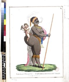 """Satirical cartoon: """"Love and Beauty - Sartjee the Hottentot"""" by Rumford (1822)."""
