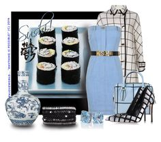 """""""What's cooking? Contest: """"Sushi Anyone?!!"""" by enjoyzworld ❤ liked on Polyvore featuring Trilogy, Sacai, Moschino, Tod's, Gianvito Rossi, OKA, personalstyle, japanese, asianinspired and windowpanes"""