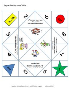 Kids love paper fortune tellers (also called cootie catchers, chatterboxes, salt cellars, or whirlybirds) , so I created this Superflex themed paper fortune teller to foster interaction during our Superflex club! Includes role-play activities for Worry Wall, Mean Jean, Space Invader and Body Snatcher.