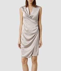 asymmetrical shift dress in opal grey silk