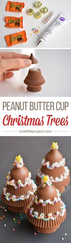 These peanut butter cup Christmas trees are SO CUTE! They'd make a great dessert or treat, and can even be wrapped up to give as a party favor!