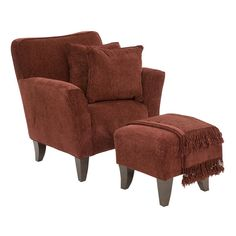 Jackie Accent Chair & Ottoman in Burgundy   Jerome's Furniture