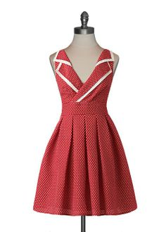 """Retro County Fair Dress - really like the red polka dot, the pleated skirt of the dress, and the double """"collar"""""""