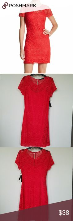 "🚫FINAL SALE 🚫Guess  red lace dress Perfect condition,  very beautiful!! Sheer through the shoulder for a saucy look and scalloped along the hem to show of the intricate lace designs . Back zip with hook and eye keyhole closure , jewel neck , short sleeves , partially lined . Length 36"" , armpit to armpit 16.5 "" , Guess Dresses Mini"