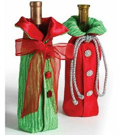 Sew your own Bottle Jackets for Wine or Flavored Vinegars and Oils...  These elegant bottle jackets will dress up your next holiday or party gift, but they're not limited just to wine bottles.
