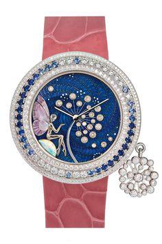 Van Cleef & Arpels Féérie Dandelion watch - set in white gold, Bezel set with diamonds and sapphires. Dial features translucent lacquer, champlevé enamel, sculpted gold and diamonds